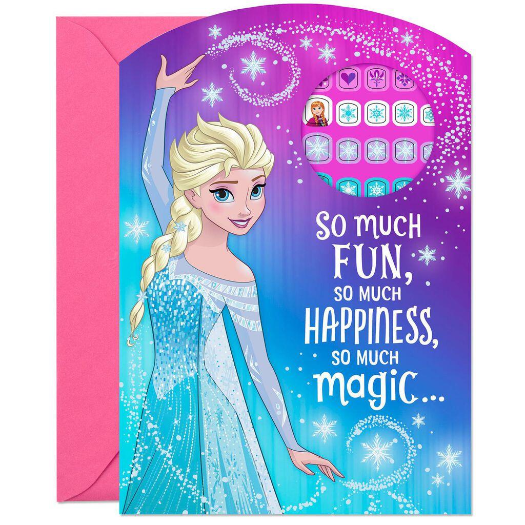 Disney Frozen So Much Fun Birthday Card With Fingernail Stickers ...