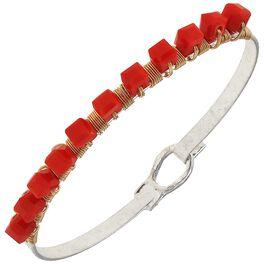 Orange Beaded Bangle Bracelet, , large