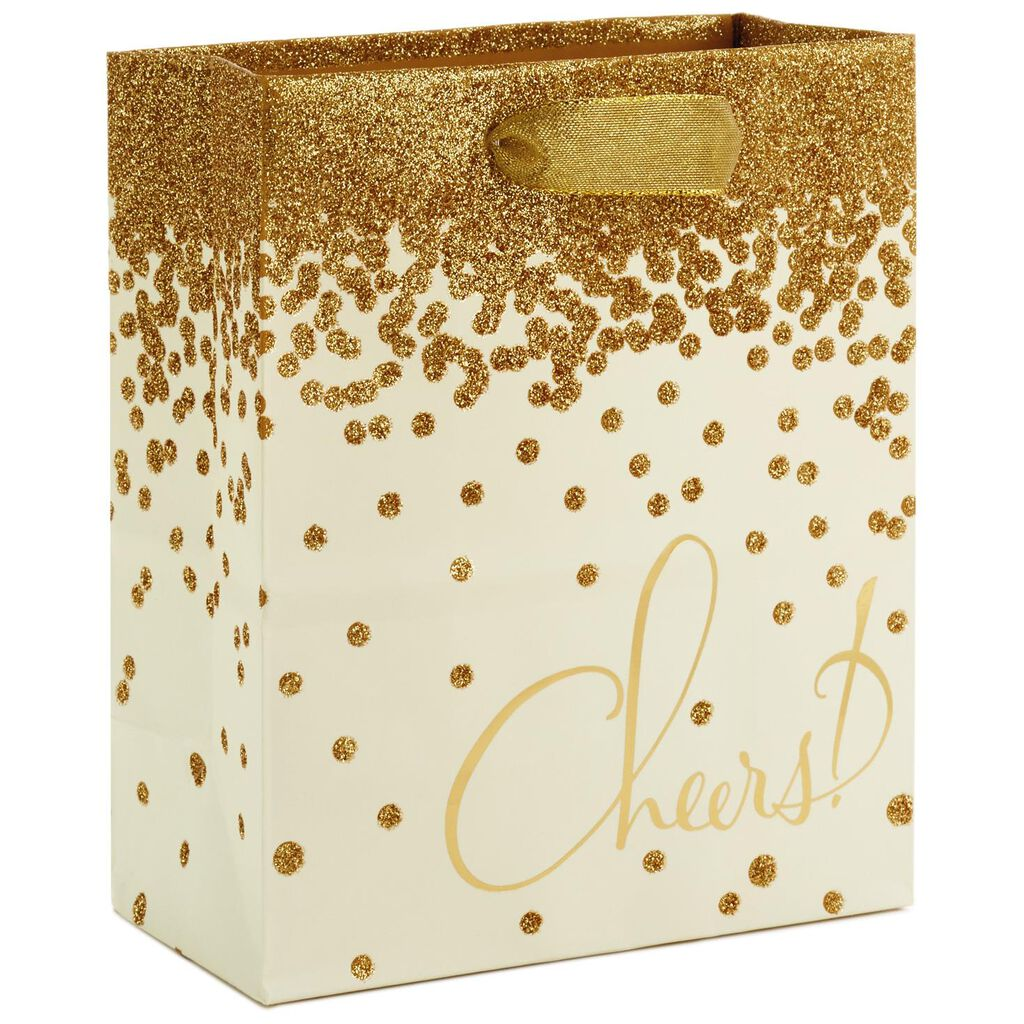 Gold Glitter Cheers Small Gift Bag, 6.5\