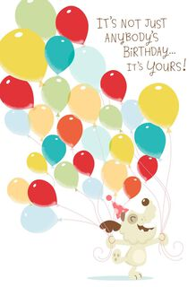 Dog With Balloons Musical Birthday Card With Motion,