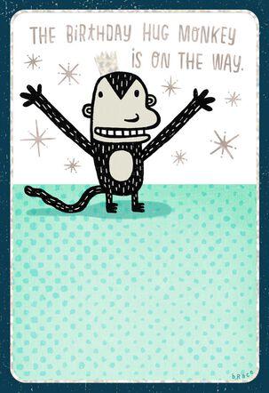 Hug Monkey Funny Birthday Card