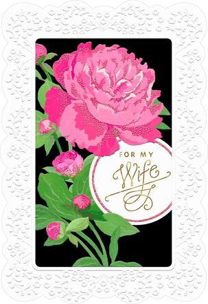 Framed Pink Rose Mother's Day Card for Wife