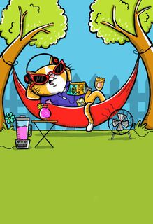 Headphones and Hammock Retirement Card,