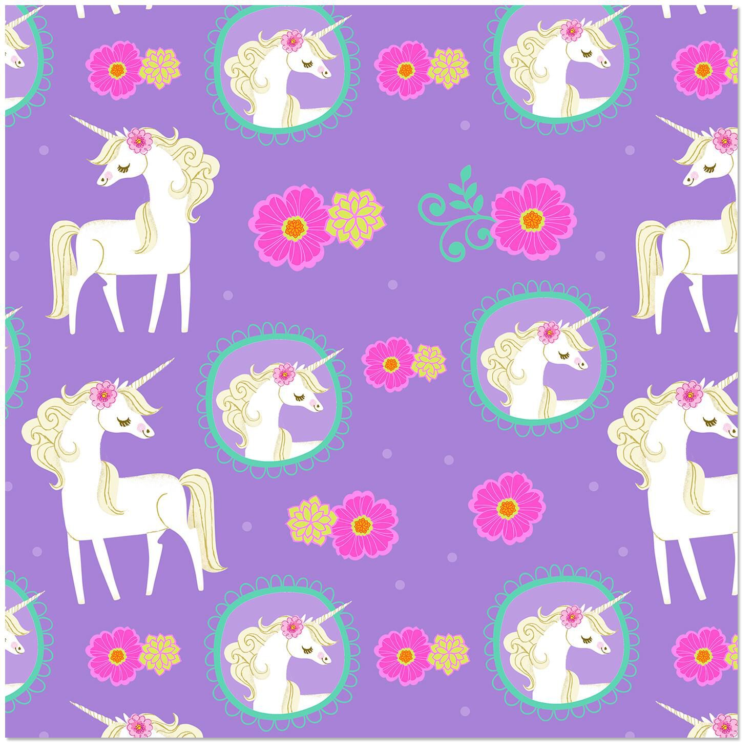 whimsical unicorn on purple wrapping paper roll 27 sq ft