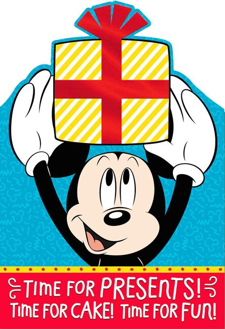 Mickey Mouse Wrapped Present Birthday Card With Stickers