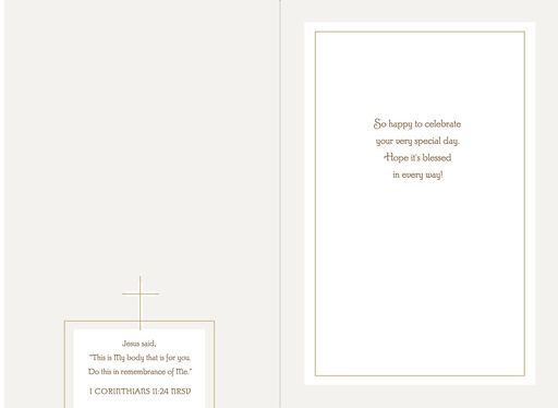 White Dress Religious First Communion Card for a Special Girl,
