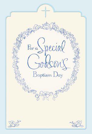 Floral Wreath Godson Baptism Card for Parents