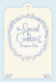 Floral Wreath Godson Baptism Card for Parents,