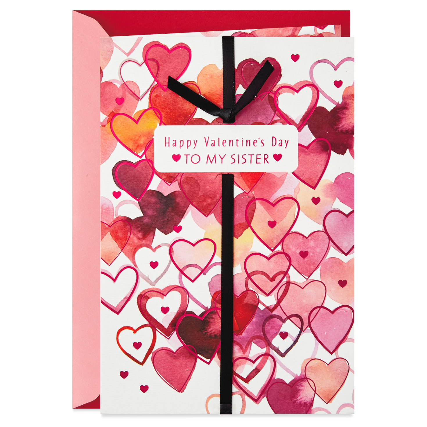 Watercolor Hearts Valentines Day Card For Sister Greeting Cards
