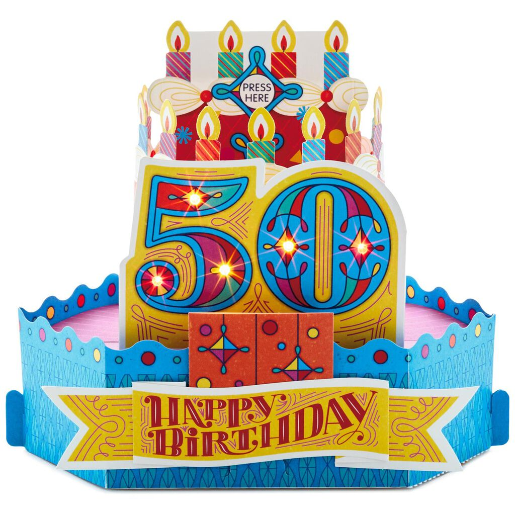 50th Birthday Cake With Candles Pop Up Musical Card Light