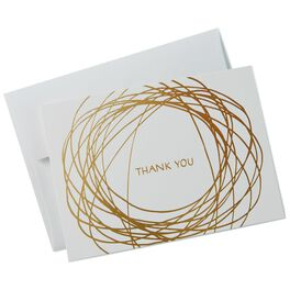 Gold Scribble Thank You Notes, Box of 10, , large