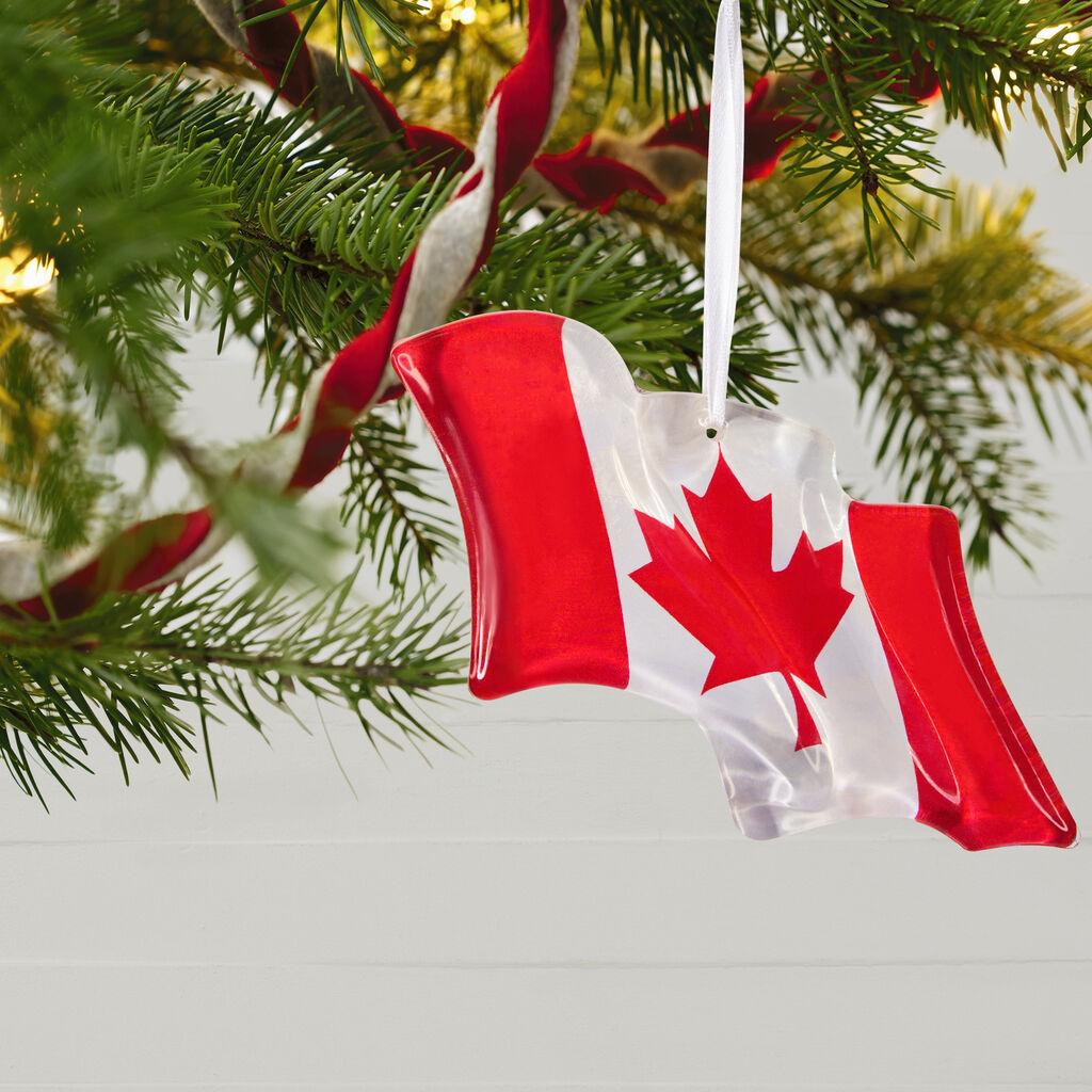 Canadian Pride Flag Glass Ornament