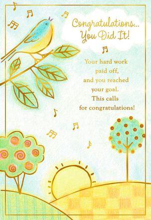 Singing Bird on Tree Congratulations Card