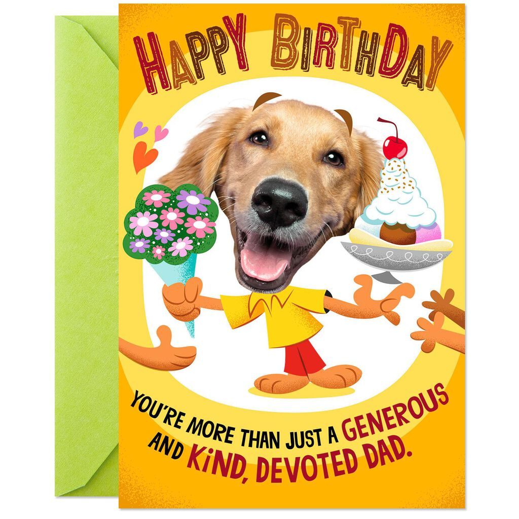 Smiling Dog More Than Just A Devoted Dad Pop Up Birthday Card