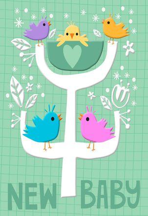 Birds on Family Tree New Baby Card