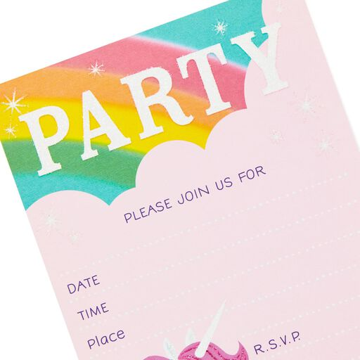 ... Glittery Unicorn Party Invitations, Pack of 10,