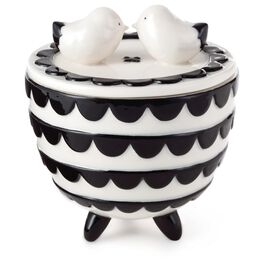 Black and White With Birds Porcelain Treasure Box, , large