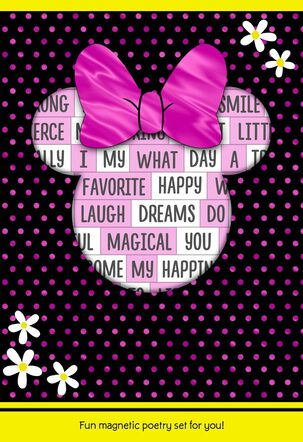 Disney  Minnie Mouse Card With Magnetic Poetry Words