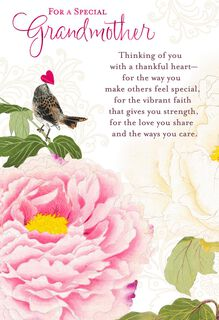 Flower and Bird Religious Mother's Day Card for Grandmother,