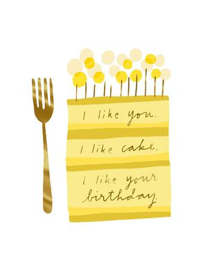 I Like Cake and You Birthday Card