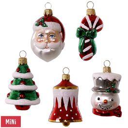 Symbols of the Season Premium Mini Glass Ornaments, Set of 5, , large