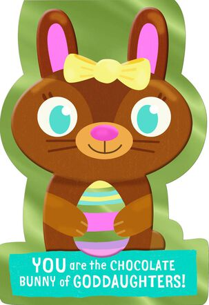 Chocolate Bunny Easter Card for Goddaughter