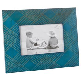 Aqua Blue Crossing-Pattern Wood 4x6 Picture Frame, , large
