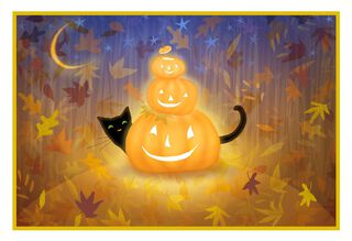 Black Cat and Pumpkins Halloween Card,