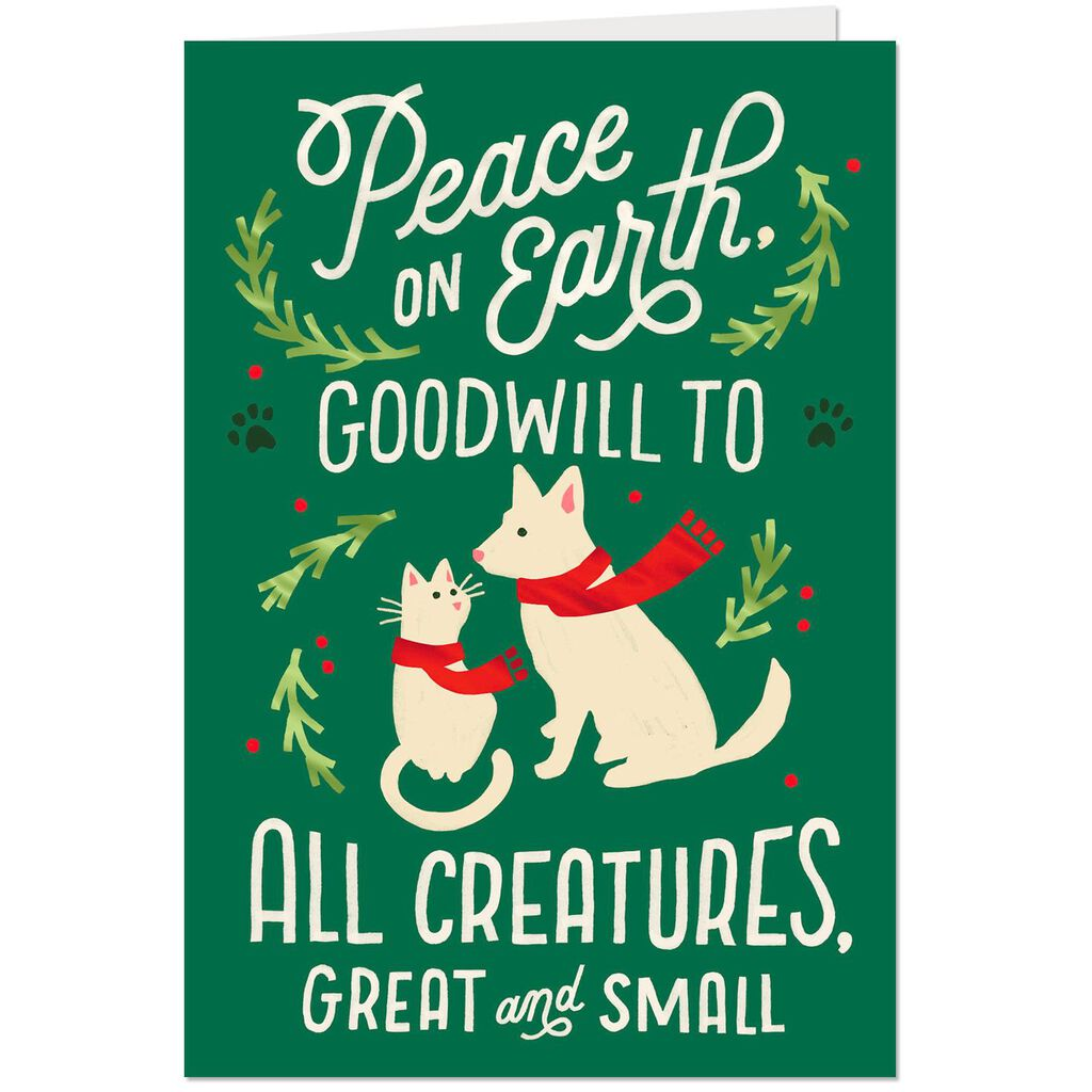 Peace on Earth Christmas Card for Pet Caregiver - Greeting Cards ...