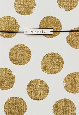 Gold Polka Dots French-Language Thank You Card