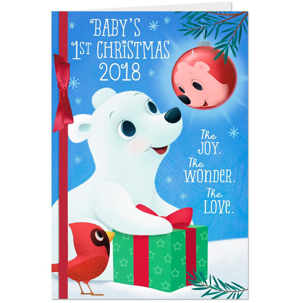 Cute Critters 2018 Baby S First Christmas Card Greeting Cards