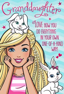 Barbie™ and Bunnies Easter Card for Granddaughter,