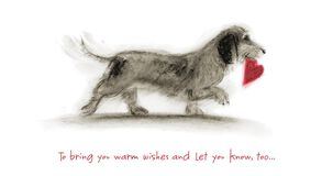 Dog Fetches Heart Valentine's Day Card