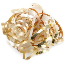 "Cream, White and Gold Curly Ribbon Gift Bow, 7.5"", , large"