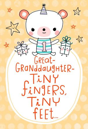 Tiny Fingers Bear 1st Birthday Card for Great-Granddaughter