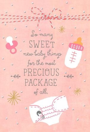 Precious Pink Package New Baby Girl Congratulations Card