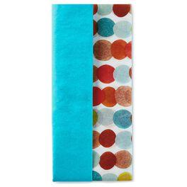 Solid Turquoise and Polka Dot Pattern 2-Pack Tissue Paper, 6 Sheets, , large
