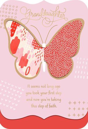 Step of Faith Religious Confirmation Card for Granddaughter