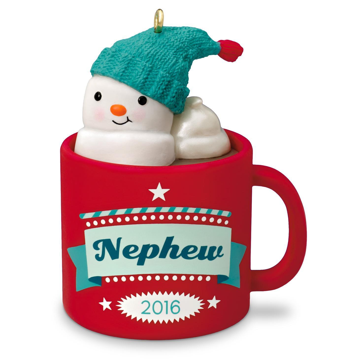 nephew hot cocoa mug and marshmallow snowman ornament keepsake