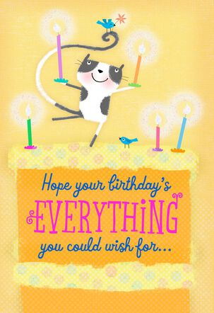 Cat, Bird and Candles Birthday Card