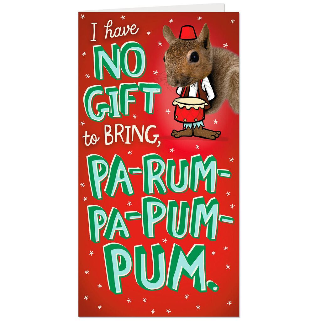Pop Up Little Drummer Squirrel Money Holder Funny Christmas Card ...