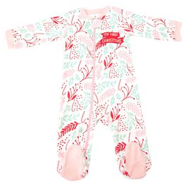Holiday Sleeptime One-Piece Holly, 0-3 Months, , large