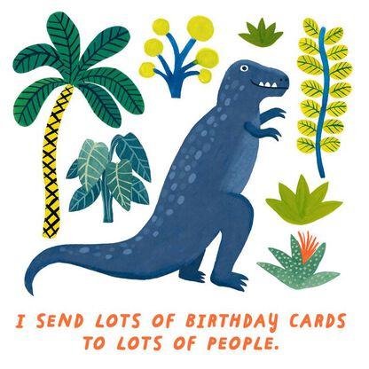 A T Rex On It Birthday Card