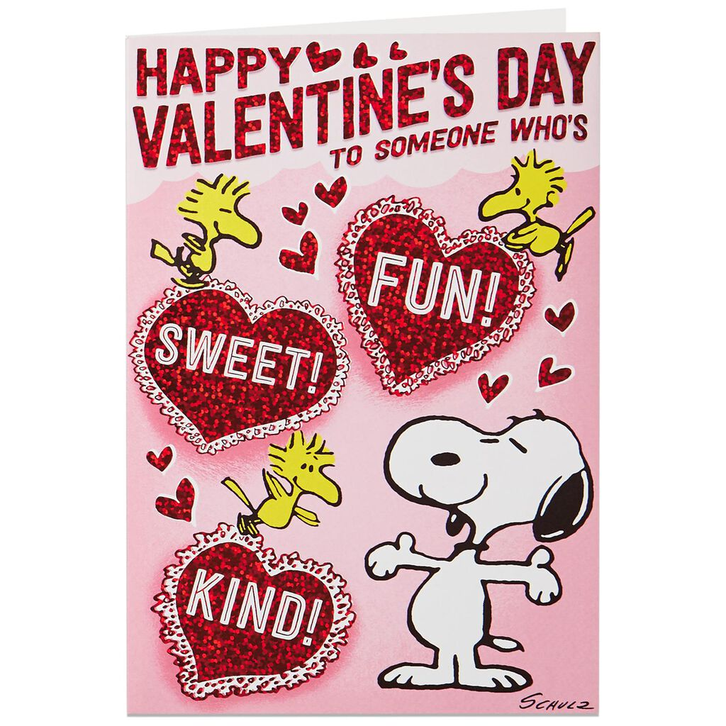 Snoopy Woodstock Hearts Musical Valentines Day Card Greeting