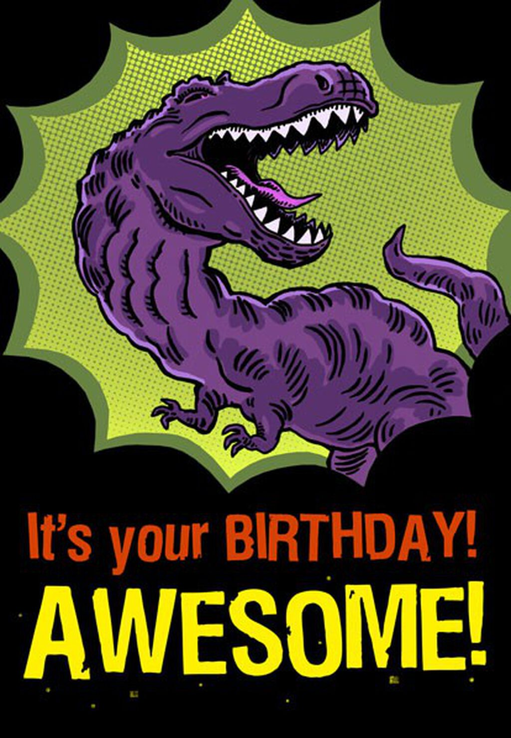 T Rex Awesome Birthday Card