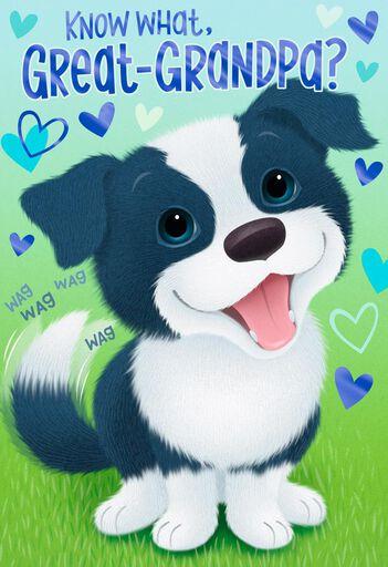 Cute Puppy Birthday Card For Great Grandpa