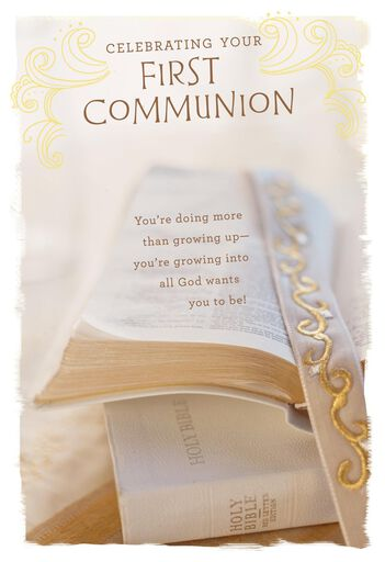 holy bible first communion card