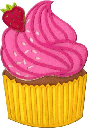 Pink Felt Cupcake Musical Birthday Card