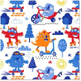 Fun, Happy Monsters Wrapping Paper Roll, 27 sq. ft., , large