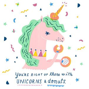 Unicorns and Donuts Birthday Card